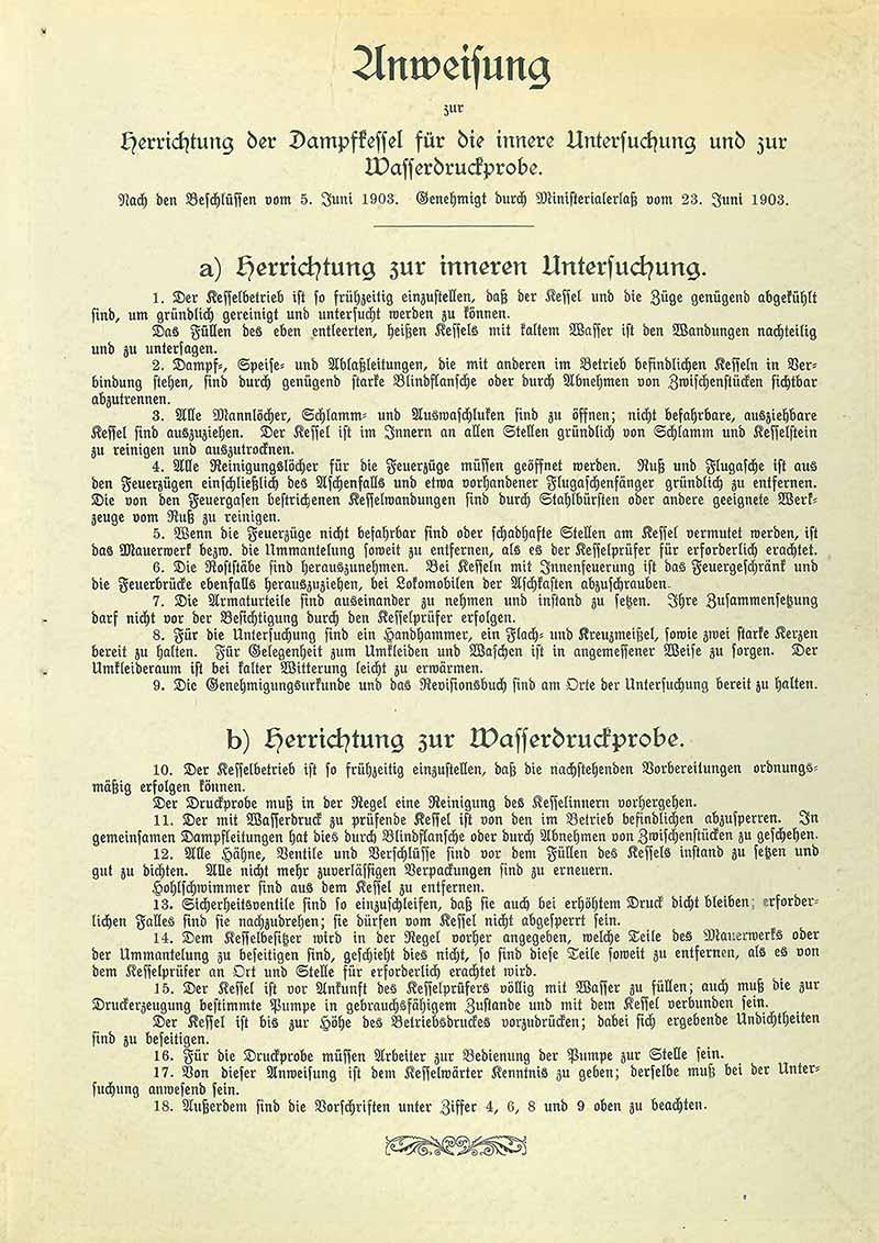 Anweisung zur Vorbereitung von wiederkehrenden Dampfkesselüberprüfungen (1903)