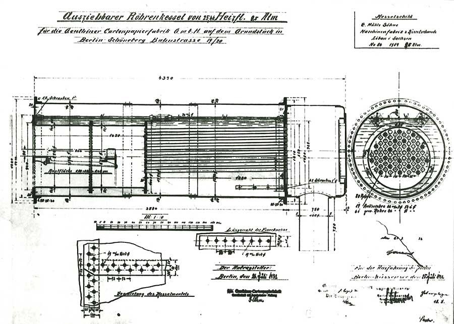 Konstruktionszeichnung eines kohlebefeuerten 1,25 t/h Rauchrohrdampfkessel (1932)